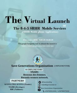 VIRTUAL LAUNCH OF THE 8-4-5 SRHR MOBILE SERVICE APPLICATION