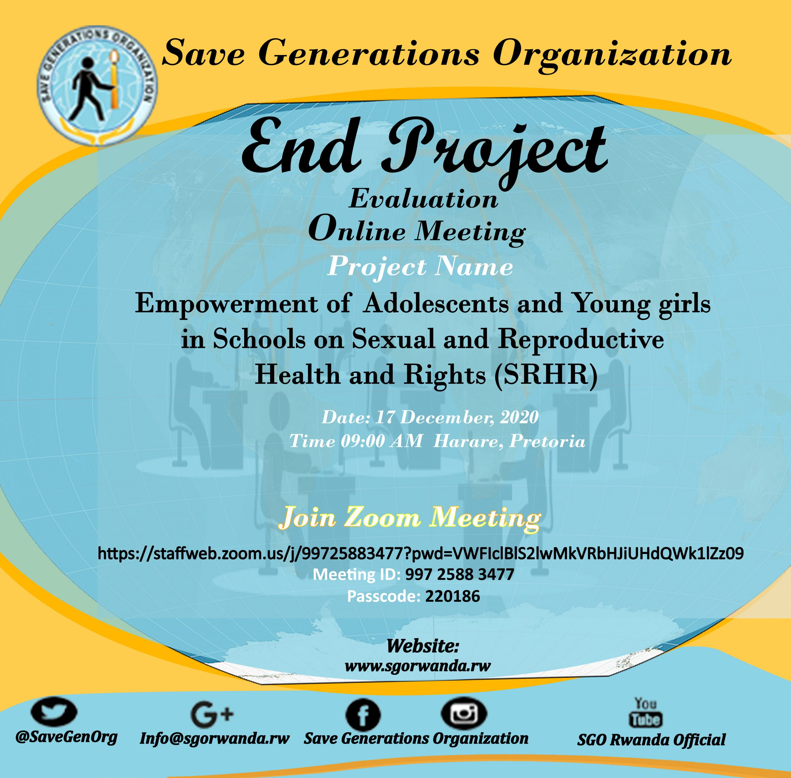 SRHR Project Monitoring & Evaluation Meeting (Online Meeting)on 17th-Dec-2020